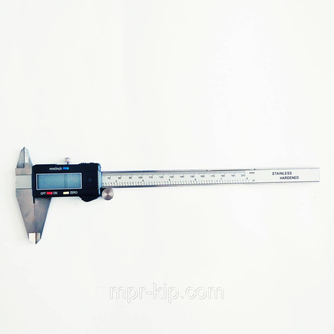 Штангенциркуль электронный KM-DSK-200 (0-200/0,01 мм; ±0.02 мм) с бегунком. C сертификатом от производителя