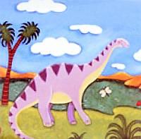 Картина раскраска 1 Вересня Динозавр у реки (951004) 25 х 25 см