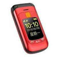 Кнопочный телефон раскладушка с камерой и фонариком на 2 сим карты Gzone F899 red. Touch dual screen. Flip