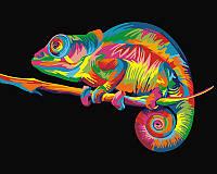 """Акриловая картина по номерам на холсте животные """"Радужный хамелеон"""" 40х50, 3 уровень сложности"""