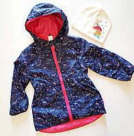 Куртка-ветровка модная для девочки синего цвета в единорогах, с капюшоном.