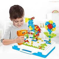 Конструктор-болтовая мозаика Сreative Pazzle 193 детали с шуруповертом и отверткой в чемодане, фото 1