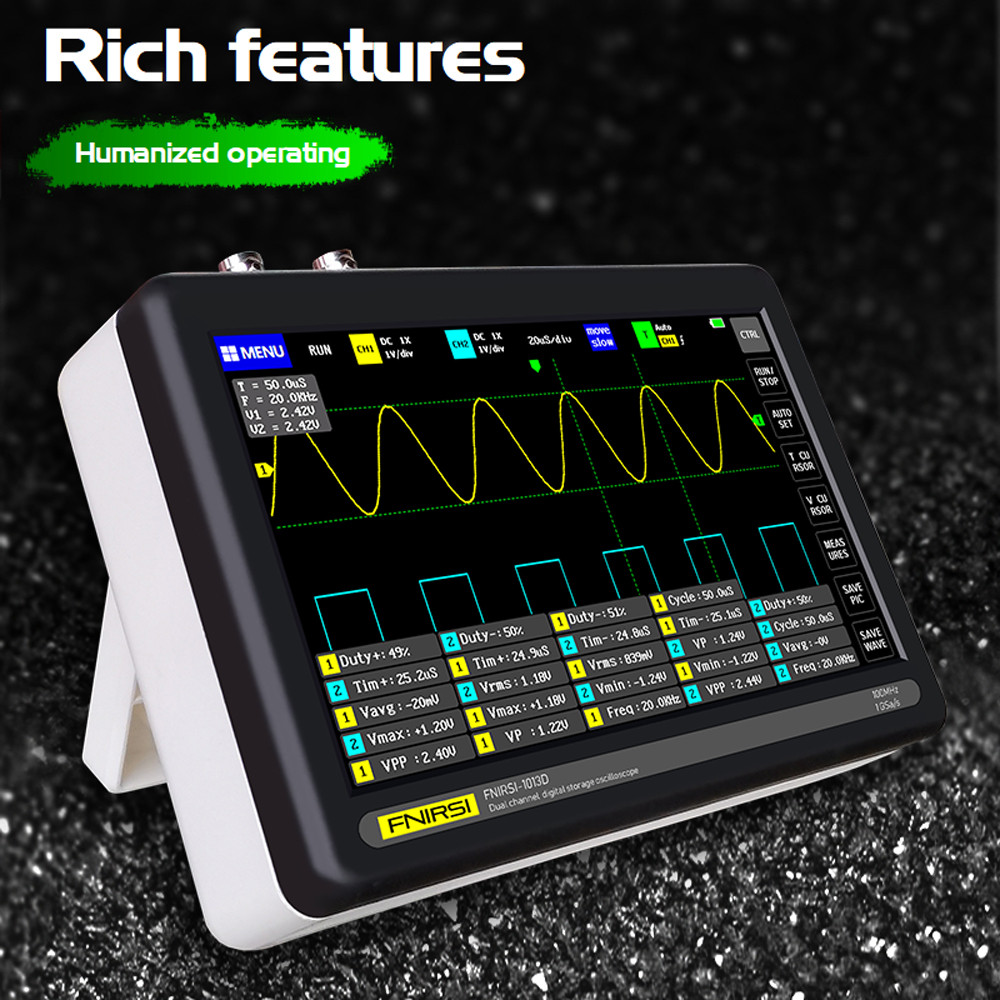 FNIRSI-1013D двухканальный портативный планшетный осциллограф 100МГц  выборка: 1 ГВ/с