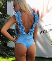 """Купальник женский сдельный  с рюшами """"Азия"""", съемные поролоновые чашки, код ММ-0164. Голубой"""