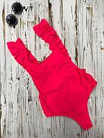 """Купальник женский сдельный  с рюшами """"Азия"""", съемные поролоновые чашки, код ММ-0165. Розовый"""