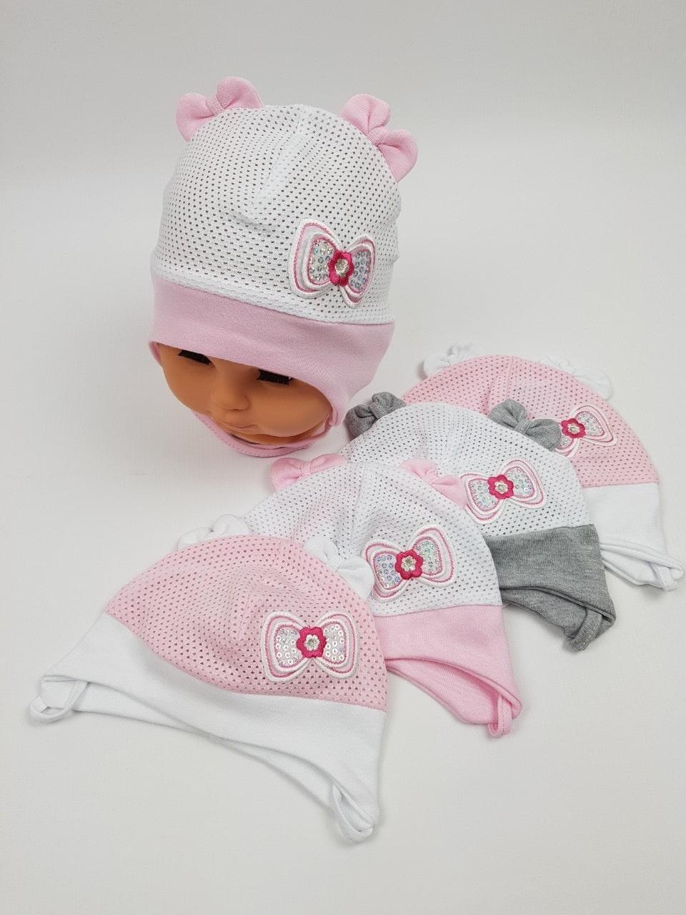 Летние детские шапочки в сеточку с ушками для девочек, р. 38-40 42-44 , Польша (Ala Baby)