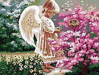 """Картина по номерам """"Ангелочек и птички"""" (KH1048) Идейка 40 х 50 см"""