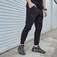 Спортивные штаны мужские черные с манжетом на молнии от бренда ТУР модель Феникс