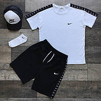 Летний комплект Nike белая футболка мужская + чёрные шорты+маска для лица+тракер+носки  S, M, L, XL