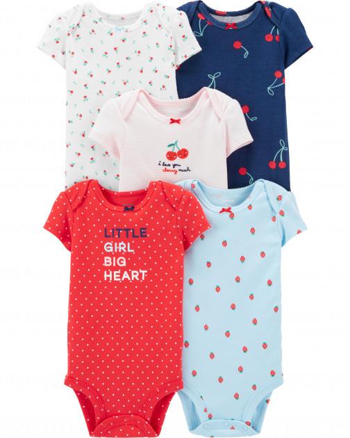 Набор бодиков Carter's для девочки с коротким рукавом, разные цвета 24М(83-86 см)