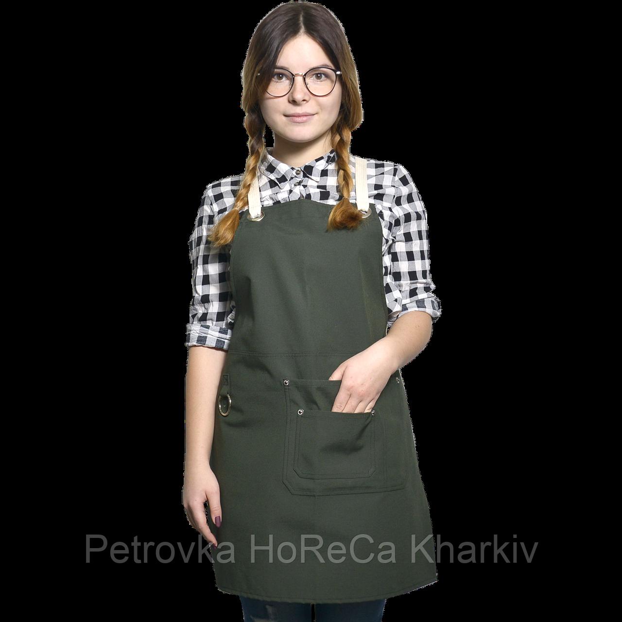 "Фартук ""ЧИКАГО"", проф.одежда для бариста, цвет Хаки"