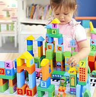 Деревянный детский город. Деревянные строительные блоки. Развивающая игрушка