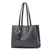 Стильная женская сумка серого цвета с ручками