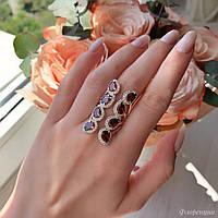 """Широке жіноче срібне колечко 925 проби з рожевими фіанітами """"Флоренція"""", фото 1"""