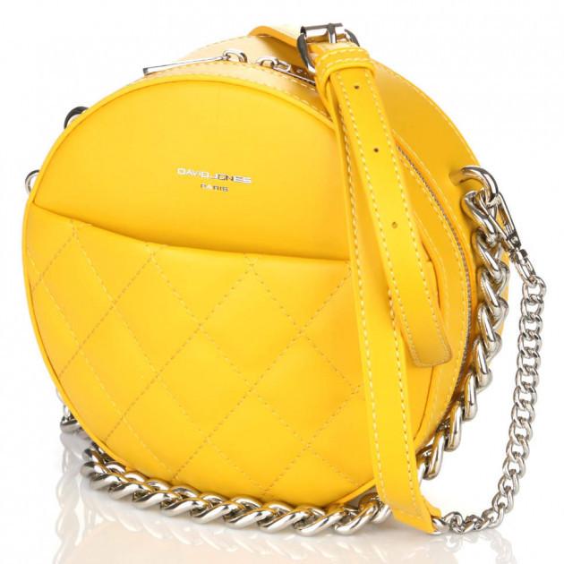 Женская круглая сумка кросс-боди David Jones с цепью, желтая /  кругла сумка жіноча шкіряна