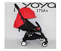 Детская прогулочная коляска YOYA 175A + КРАСНЫЙ ОКСФОРД, РАМА ЧЕРНАЯ