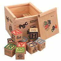 Большой деревянный куб с крышкой и кубиками. Развивающая игрушка. Подарок для малыша