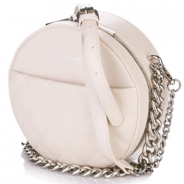 Женская круглая сумка кроссбоди David Jones с цепью, бежевая /  кругла сумка жіноча шкіряна