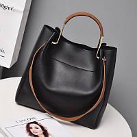 Женская сумка с ручками черного цвета