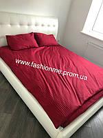 Постельное белье однотонное из страйп-сатина (100 % хлопок) в полосочку Двуспальный Евро бордо,  Италия