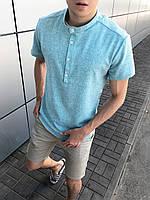 Рубашка мужская льняная с коротким рукавом голубая летняя | ЛЮКС качества, фото 1