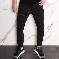 Спортивные штаны мужские черные с манжетом на молнии от бренда ТУР модель Феникс L