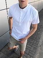 Рубашка мужская льняная с коротким рукавом белая летняя | ЛЮКС качества, фото 1