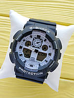 Спортивные кварцевые наручные часы Casio g-shock ga-100 (Касио джи шок) черные с белым, CW613