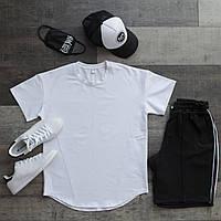 Летний комплект мужской Футболка белая+шорты+кепка+маска+носки размер  XS, S, M, L, XL