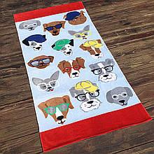 Детское пляжное полотенце махровое покрывало, для мальчика, девочки, подстилка коврик с собачками