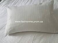 Постельное белье однотонное из страйп-сатина (100 % хлопок) в полосочку Двуспальный Евро белый,  Италия