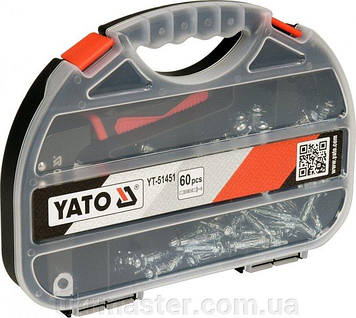 Пистолет с набором дюбелей Molly под гипсокартон 60 штук Yato YT-51451