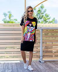 Молодіжне трикотажне плаття-футболка розміри 44,46,48