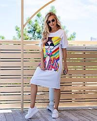 Легке трикотажне плаття-футболка розміри 44,46,48