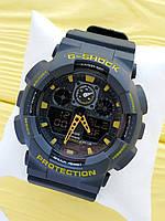 Спортивные кварцевые наручные часы Casio g-shock ga-100 (Касио джи шок) черные с желтым, CW614