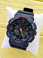 Спортивные кварцевые наручные часы Casio g-shock ga-100 (Касио джи шок) черные с красным, CW615