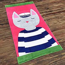 Детское пляжное полотенце махровое покрывало для девочки, подстилка коврик с котом