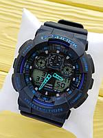 Спортивные кварцевые наручные часы Casio g-shock ga-100 (Касио джи шок) черные с синим, CW616