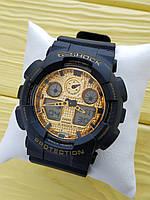 Спортивные кварцевые наручные часы Casio g-shock ga-100 (Касио джи шок) черные с золотым, CW617