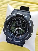 Спортивные кварцевые наручные часы Casio g-shock ga-100 (Касио джи шок) черные с белым, CW618