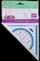 Угольник 2 в 1 ZiBi KIDS Line 14 см 90° 45° с голубой полосой блистер