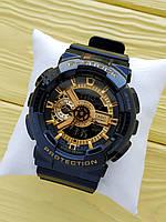 Спортивные кварцевые наручные часы Casio g-shock ga-110 (Касио джи шок) черные с золотым, CW619