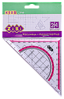 Угольник 2 в 1 ZiBi KIDS Line 14 см 90° 45° с розовой полосой блистер