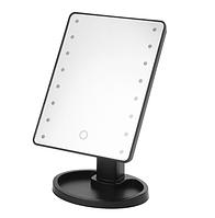 Настольное зеркало для макияжа  с LED подсветкой  22 светодиода Черное (0149)