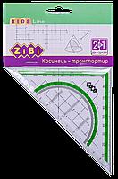 Угольник 2 в 1 ZiBi KIDS Line 14 см 90° 45° с салатовой полосой блистер