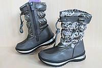 Сапожки дутики на девочку, детская зимняя термо обувь, теплые серые сапоги Томм р.29,31