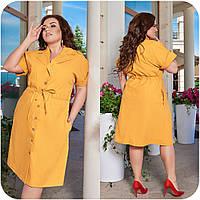 Женское летнее платье на пуговицах Лен Размер 48 50 52 54 56 58 60 62 64 66 В наличии 6 цветов