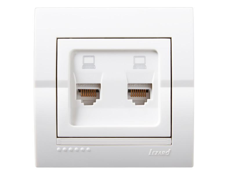 Розетка компьютерная двойная ТМ LEZARD серии Dery белый