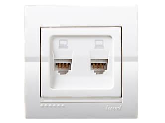 Розетка комп'ютерна подвійна ТМ LEZARD серії Dery білий