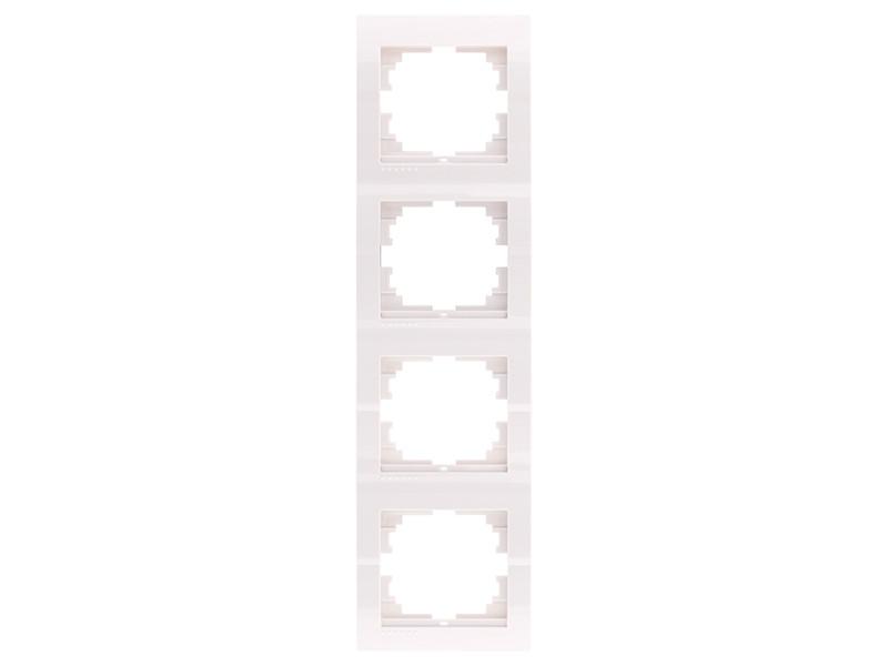 Рамка 4-ая вертикальная ТМ LEZARD серии Mira белый